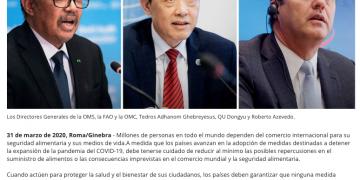 Comunicado conjunto que dieron los Directores Generales de la OMS, la FAO y la OMC. Donde plantean acciones para mitigar los efectos del Covid-19 en el comercio y los mercados de alimentos.